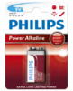 Baterie Philips 9V, Power Alkaline, (Blistr 1ks)