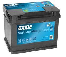 Autobaterie EXIDE Start-Stop AGM, 12V, 60Ah, EK600 - 1