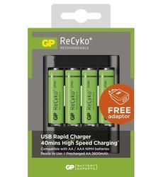 Nabíječka baterií GP USB U421 + 4x AA GP ReCyko+ 2700mAh (B04217) - 1