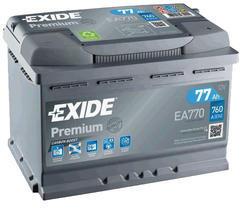 Autobaterie EXIDE Premium, Carbon Boost, 77Ah, 12V, 760A, EA770 - 1