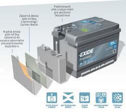 Autobaterie EXIDE Premium, 12V, 60Ah, 600A, EA601, Carbon Boost, Levá - 2