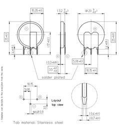 Knoflíkový akumulátor Renata CR2032 MFR-RV, s pájecími kontakty - 2