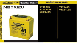 Motobaterie Motobatt MBTX12U, 12V, 14Ah, 200A (YTX12-BS, YTX14H-BS, AGM12-10) - 2