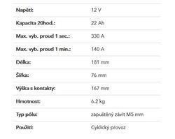 Trakční baterie Yuasa REC22-12I (12V/22Ah) - 2