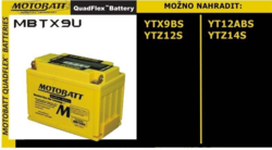 Motobaterie Motobatt MBTX9U, 12V, 10,5Ah, 160A (YTX9-BS, YT12A-BS, YTZ12S, YTZ14S) - 3