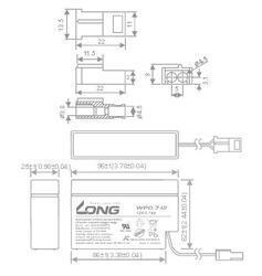 Baterie Long 12V, 0,7Ah olověný akumulátor AMP - 5
