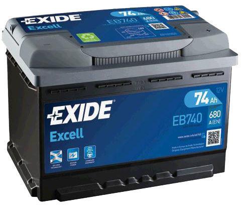 autobaterie exide excell 12v 74ah 680a eb740. Black Bedroom Furniture Sets. Home Design Ideas